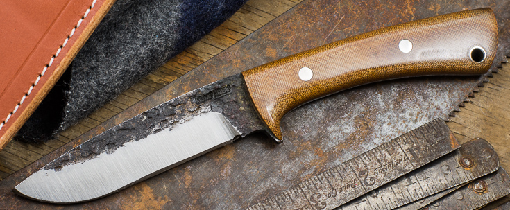 Lon Humphrey Custom Knives - Scout - Natural Canvas Micarta