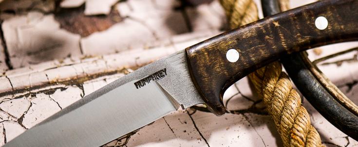 Lon Humphrey Custom Knives - Scout - Dark Curly Maple Burl